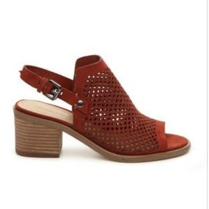 Marc Fisher Sashe Suede Sandals Burnt Red Color